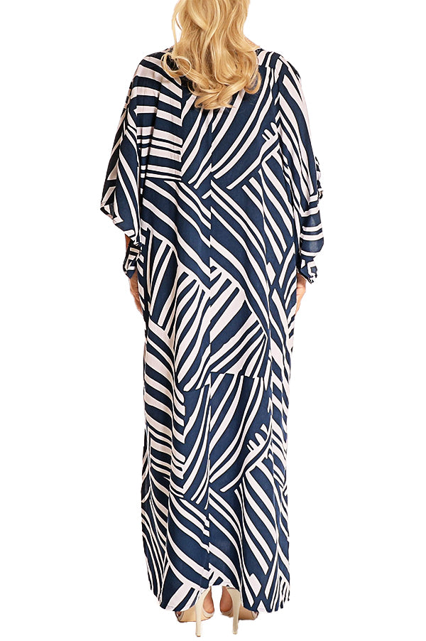 Navy Kaftan Maxi Dress - ESMERALDA THOMSON Boho Resort Wear