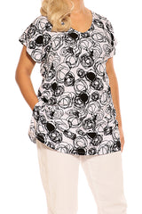 Black White Resort Boho Short Sleeve Top - ESMERALDA THOMSON Boho Resort Wear