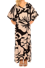 Mocha Black Kaftan Maxi Dress - ESMERALDA THOMSON Boho Resort Wear