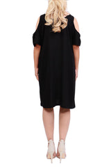 Boho Black Cut Out Shoulder Dress - ESMERALDA THOMSON Beach & Resort Wear
