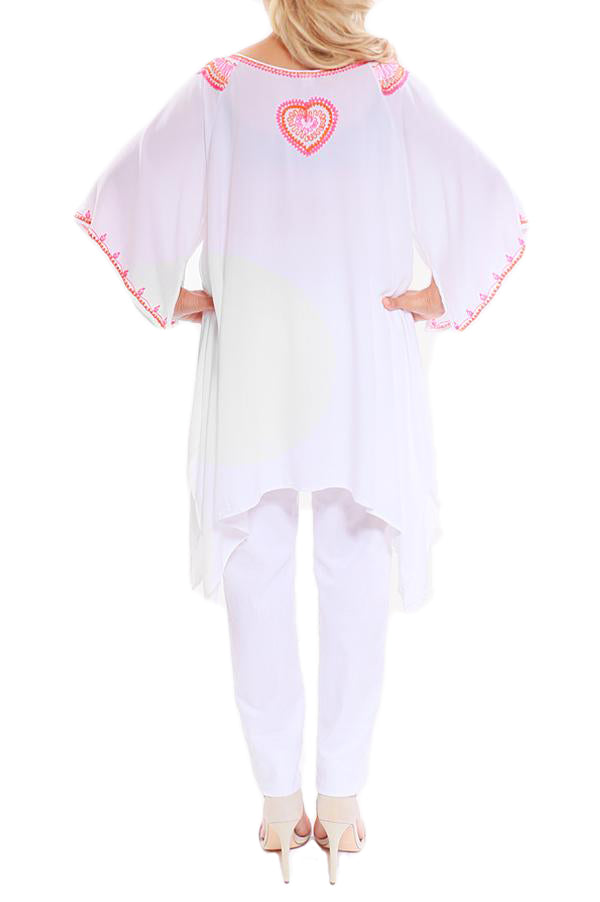 White Kaftan Top Embroidery - ESMERALDA THOMSON Beach and Resort Wear