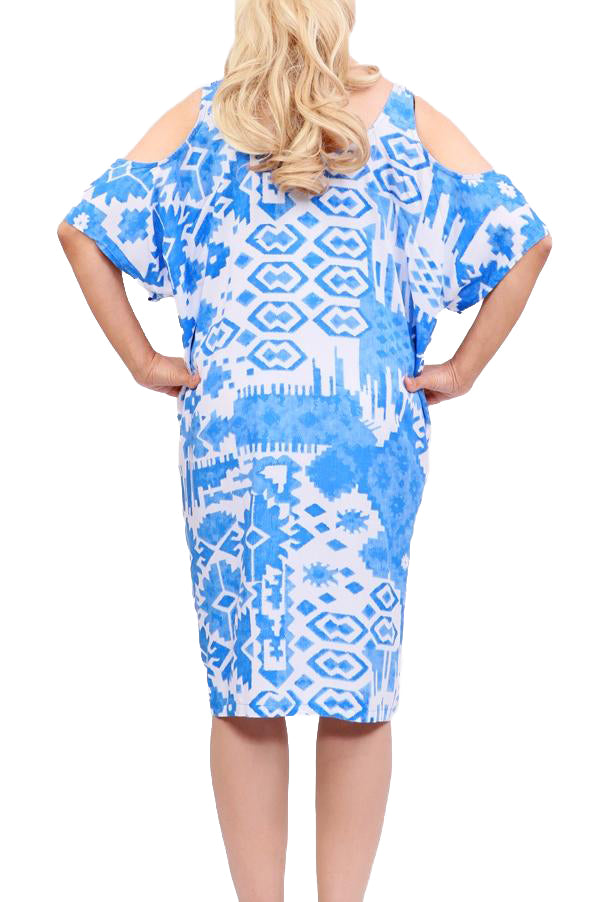 Blue Boho Cut Out Shoulder Dress - ESMERALDA THOMSON Beach & Resort Wear