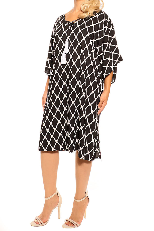 Black Kaftan Cover Up Dress - ESMERALDA THOMSON Boho Resort Wear