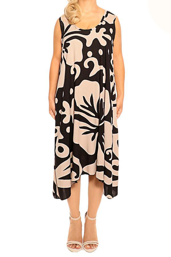 Mocha Black Sleeveless Resort Dress - ESMERALDA THOMSON Beach and Resort Wear