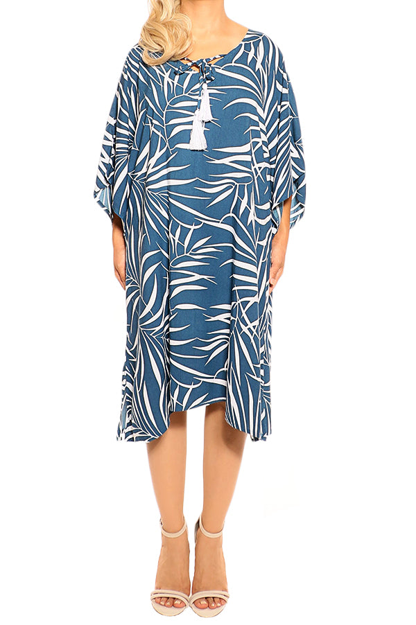 Ink Kaftan Cover Up Dress - ESMERALDA THOMSON Boho Resort Wear