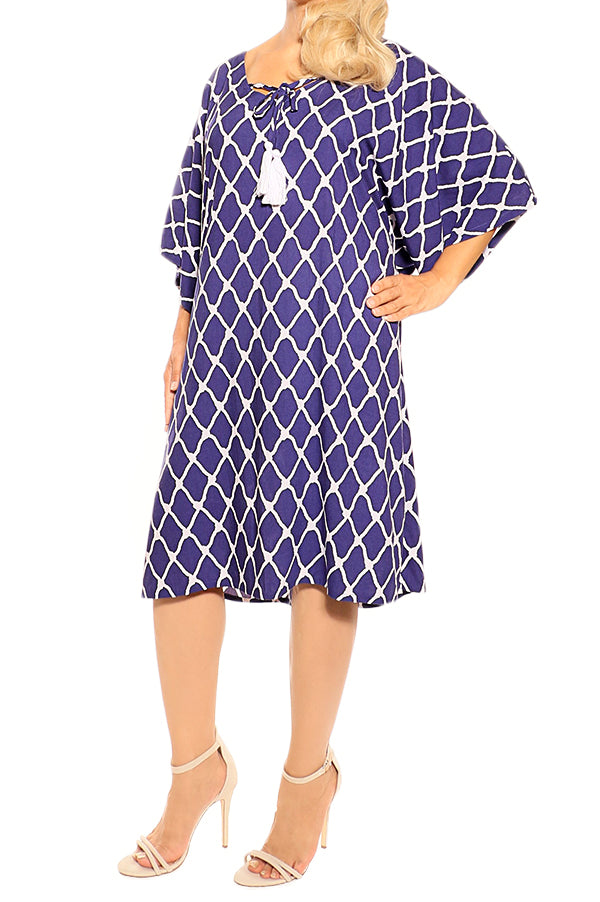 Purple Blue Kaftan Cover Up Dress - ESMERALDA THOMSON Boho Resort Wear