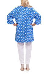 Blue Resort Tunic Tops - ESMERALDA THOMSON Chic Boho Resort Wear