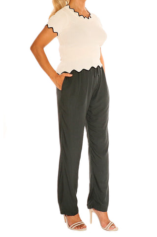 Charcoal Boho Resort Pants - ESMERALDA THOMSON Beach & Resort Wear