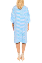 Corn Blue Kaftan Cover Up Dress - ESMERALDA THOMSON Boho Resort Wear