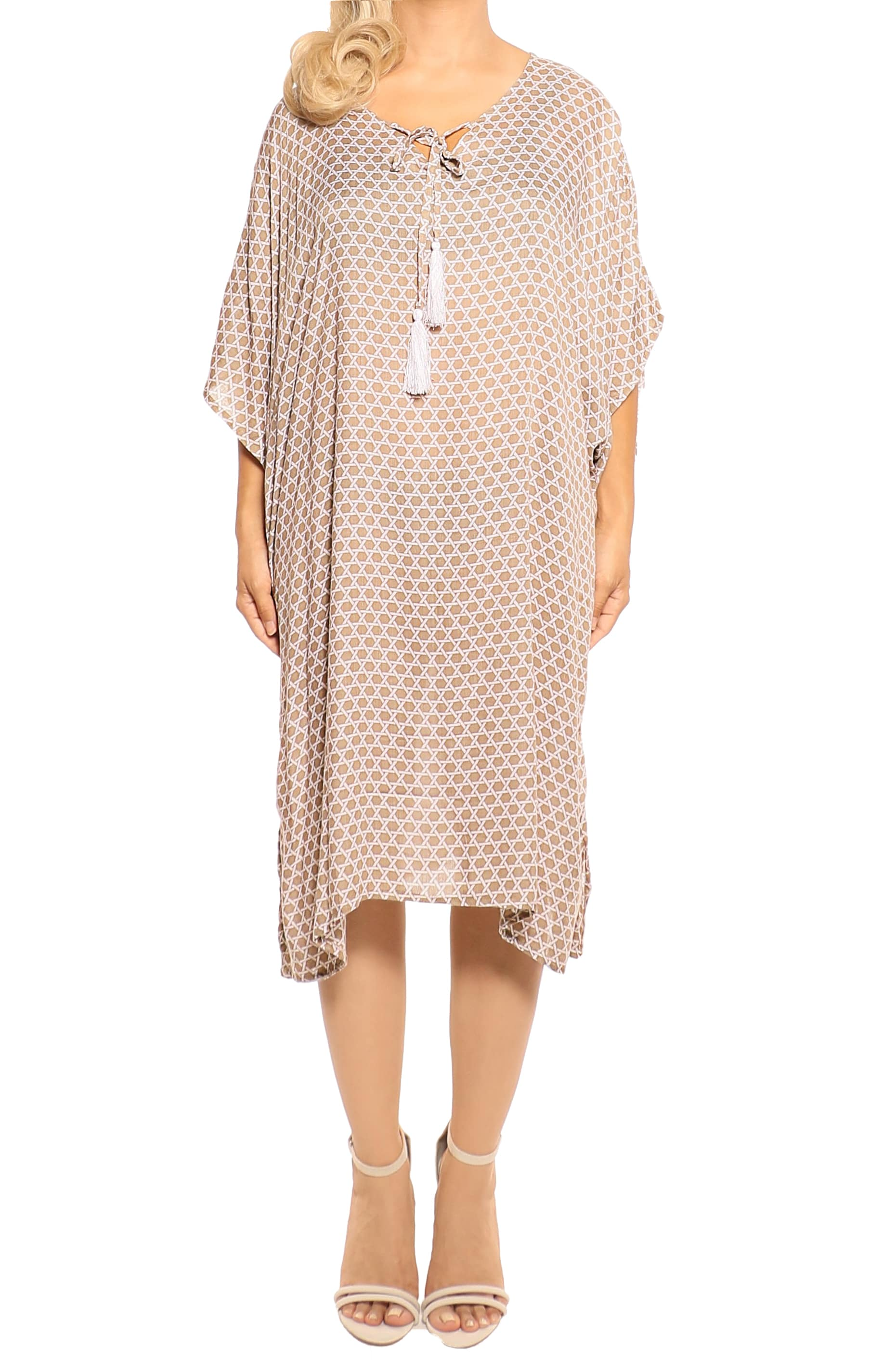 Mocha Kaftan Cover Up Dress - ESMERALDA TOMSON Boho Resort Wear
