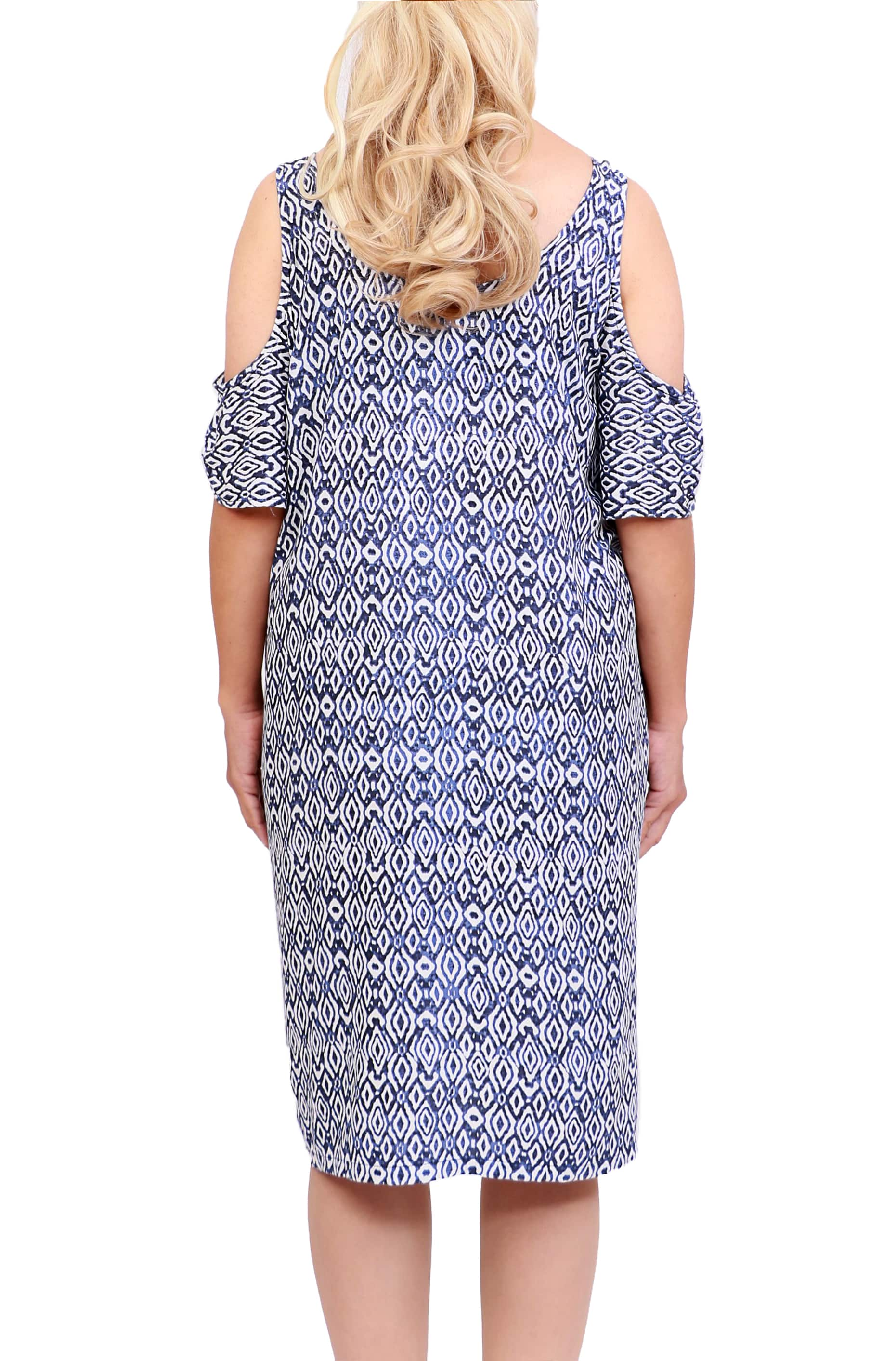 Boho Navy Cut Out Shoulder Dress - ESMERALDA THOMSON Beach & Resort Wear