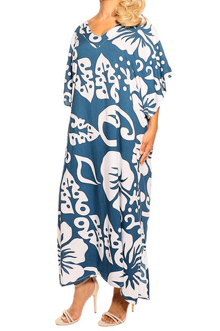 Teal Kaftan Maxi Dress - ESMERALDA THOMSON Boho Resort Wear