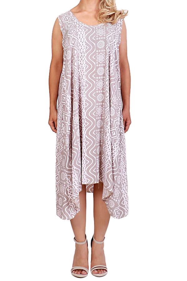 Mocha Sleeveless Resort Dress - ESMERALDA THOMSON Beach and Resort Wear