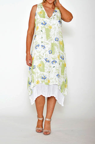 ESMERALDA THOMSON WHITE GREEN SLEEVELESS FLORAL SILK DRESS