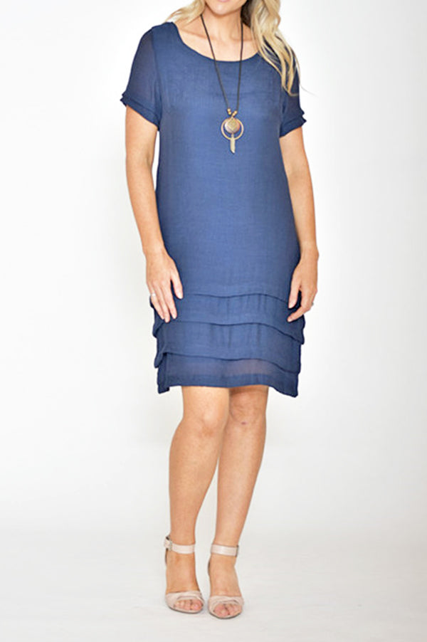 ESMERALDA THOMSON NAVY SILK COTTON DRESS