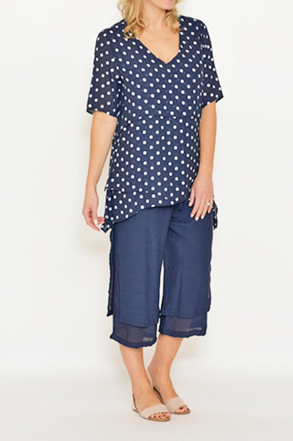 ESMERALDA THOMSON BOHO RESORT NAVY POLKA DOT TOP