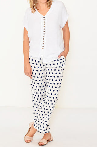 ESMERALDA THOMSON BOHO RESORT WHITE POLKA DOT PANTS