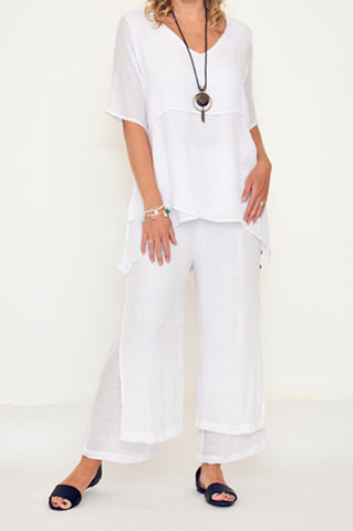 ESMERALDA THOMSON SILK COTTON WHITE PANTS