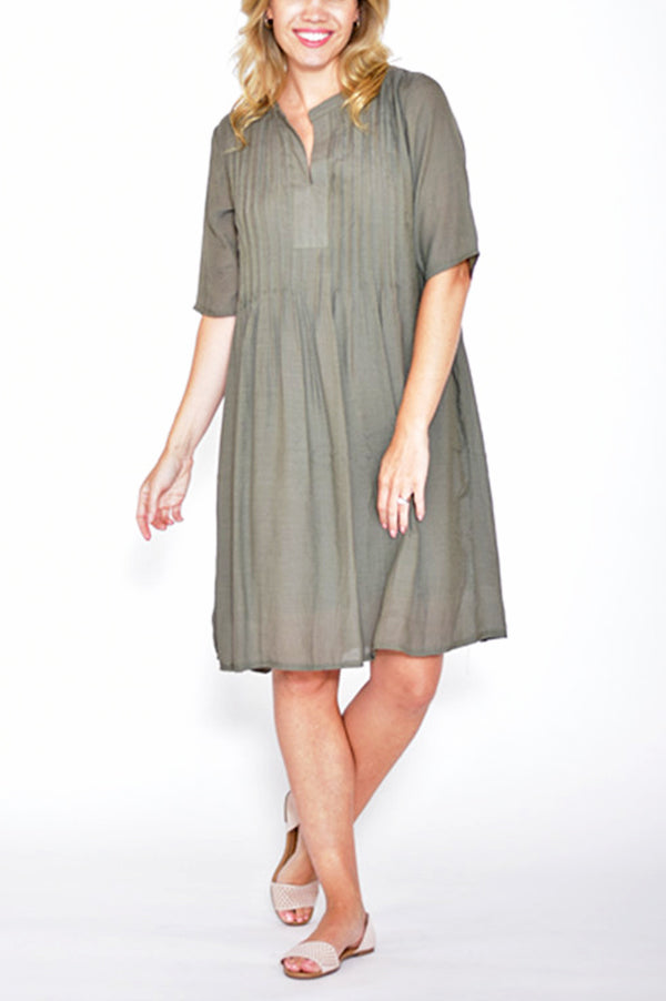 1/2 SLEEVE PLEATED DRESS