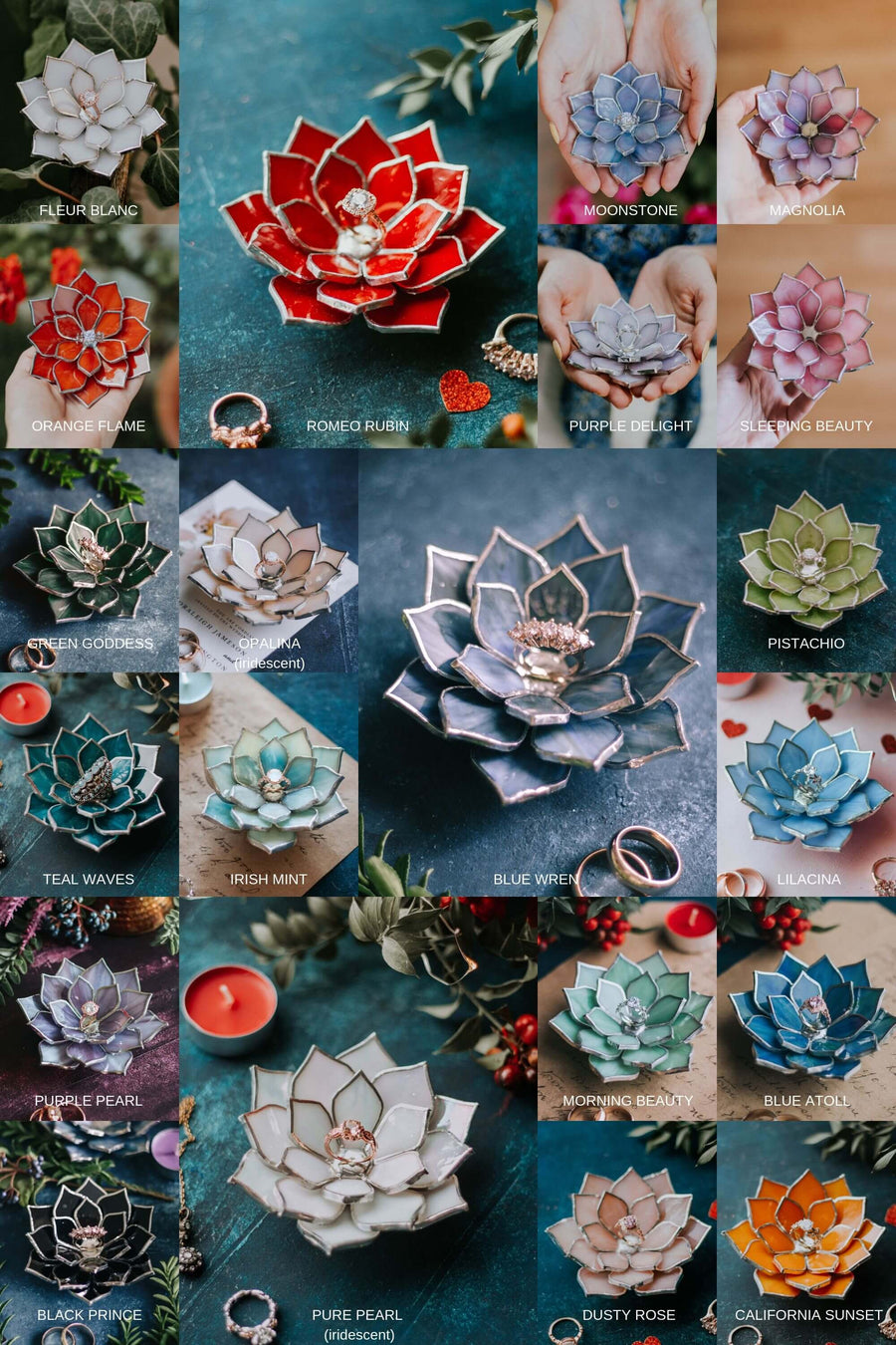 Succulent Shaped Wedding Ring Dish & Creative Ring Pillow Alternative