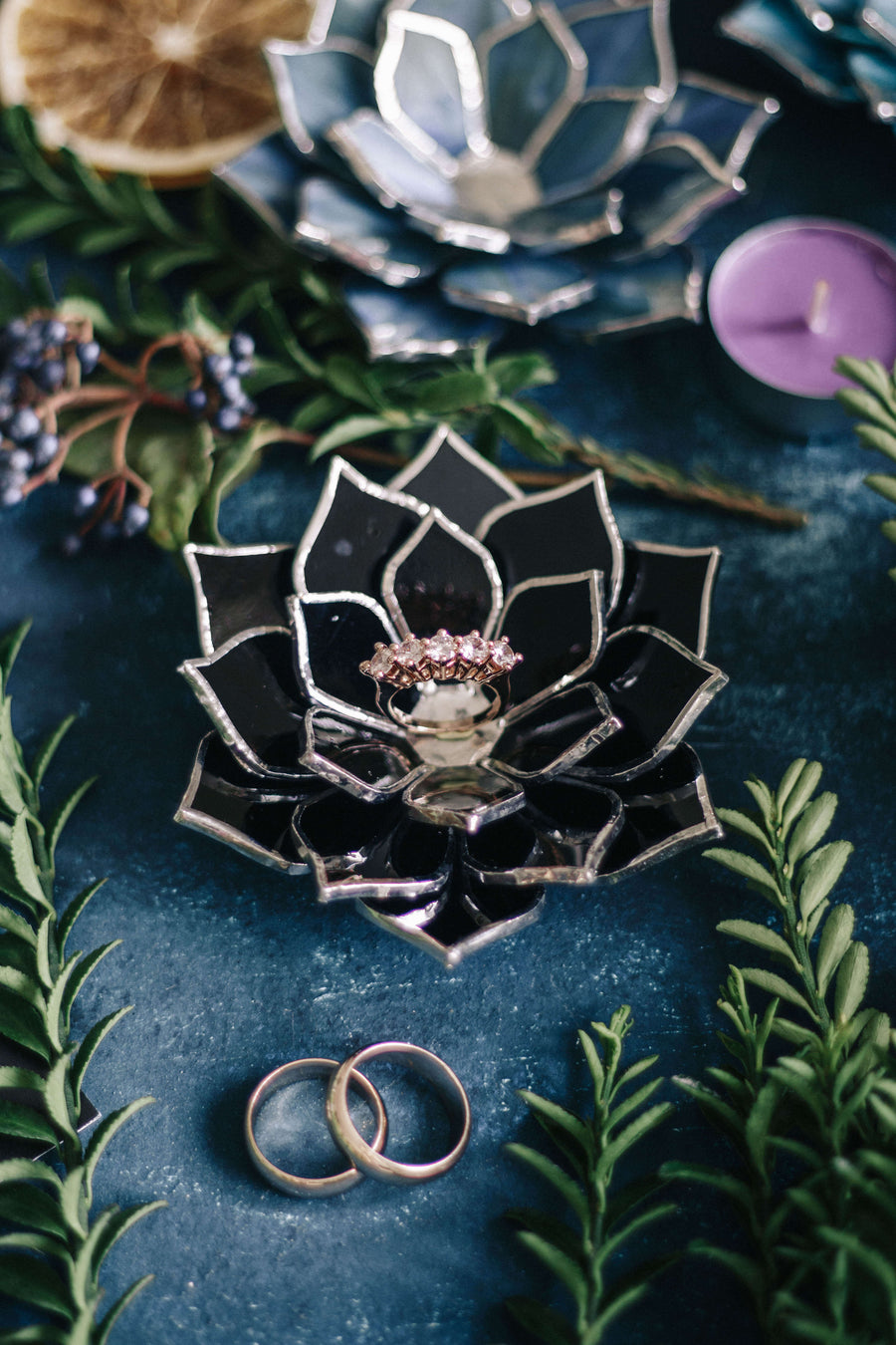 black succulent wedding ring dish