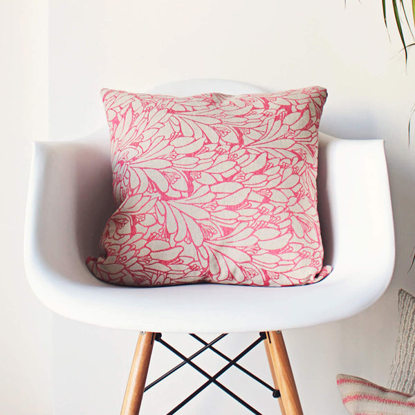 bright pink floral pillow
