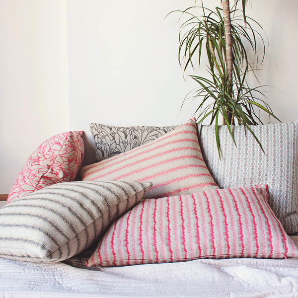 bright pink linen pillows