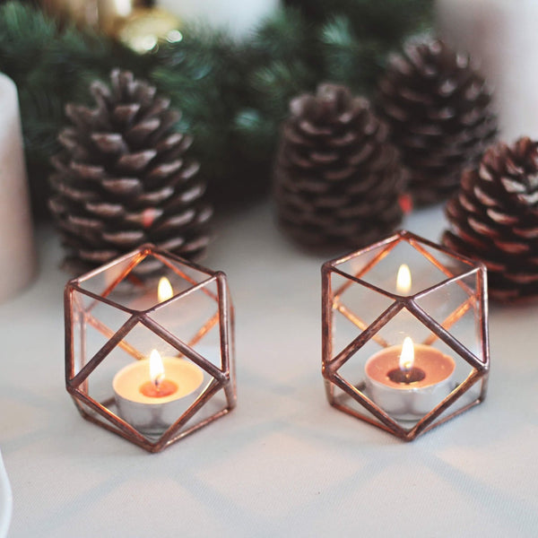 copper candle holder set