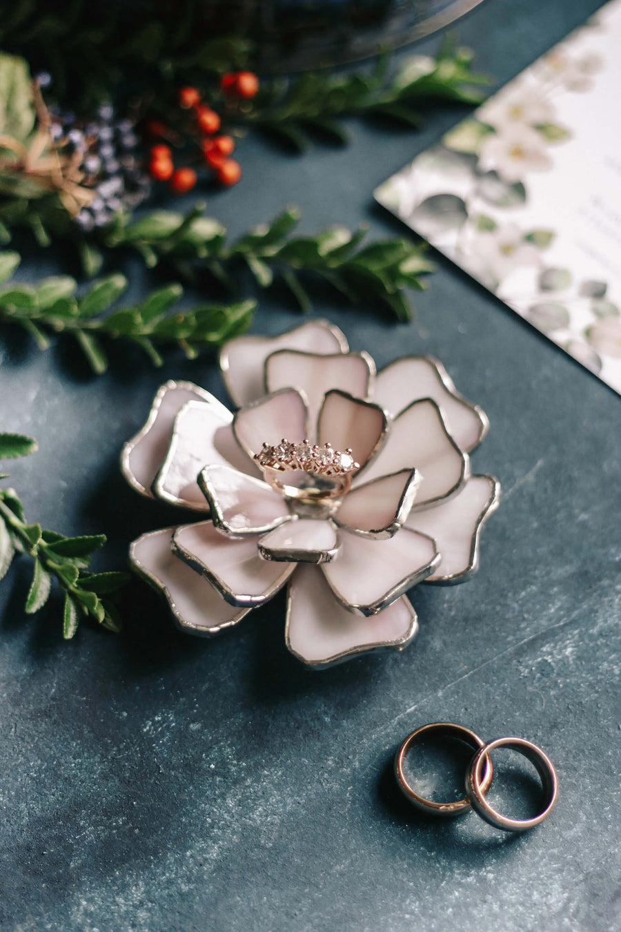 floral wedding ring holder