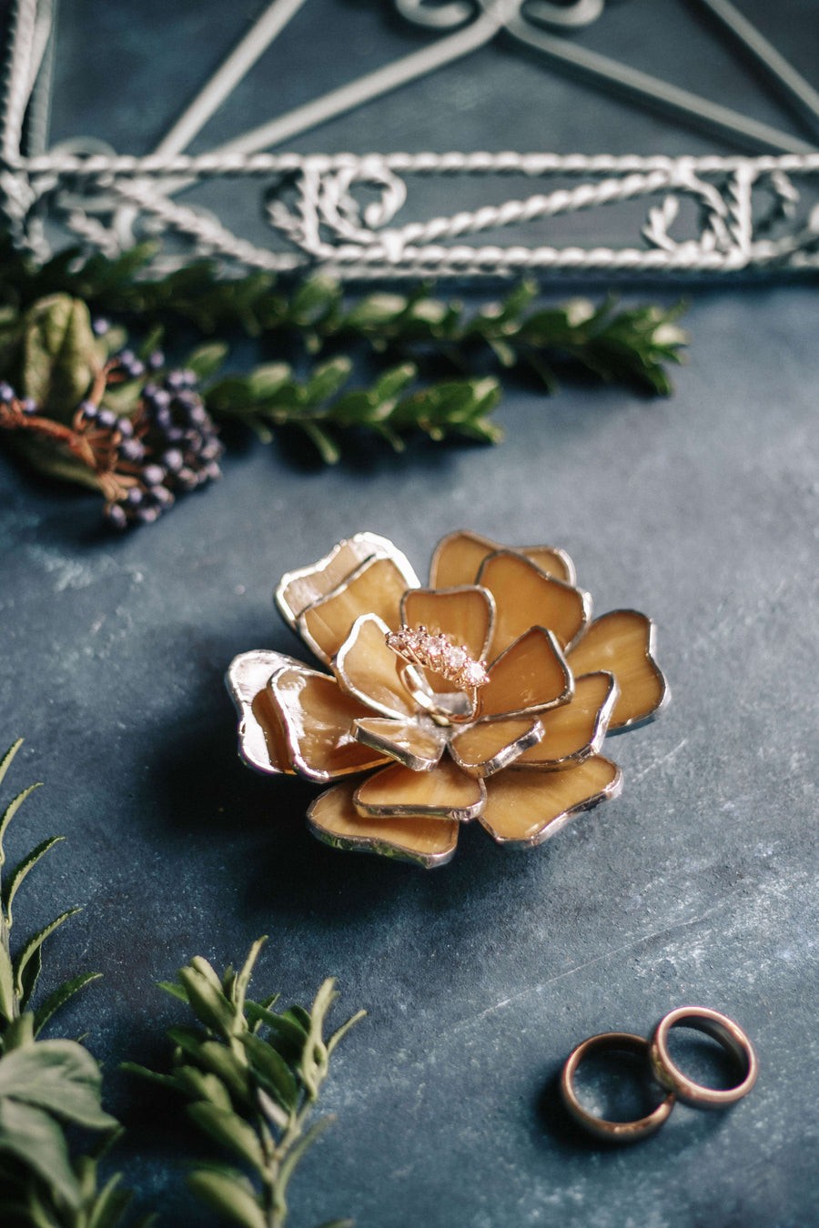 floral wedding ring dish