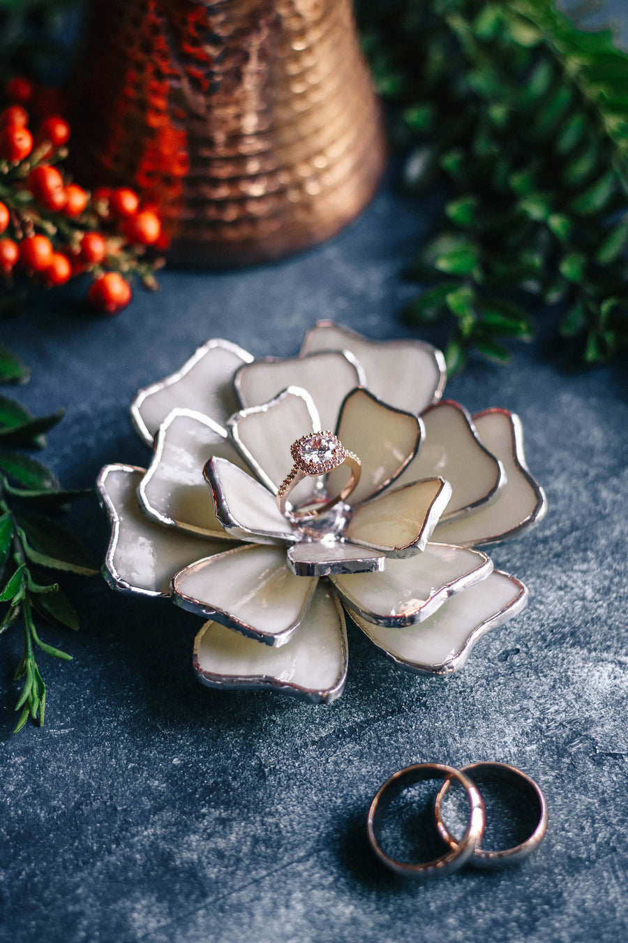 glass flower ring holder