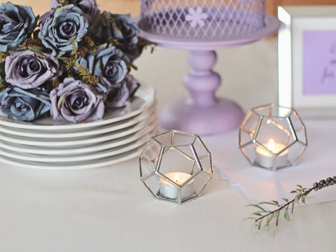 glass geometric candle holder
