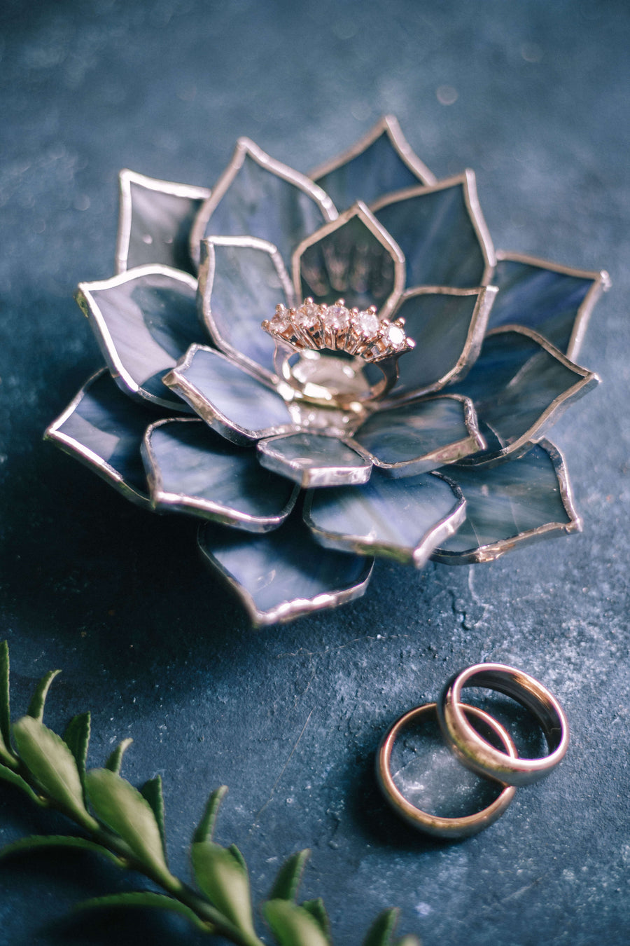 glass succulent wedding ring dish