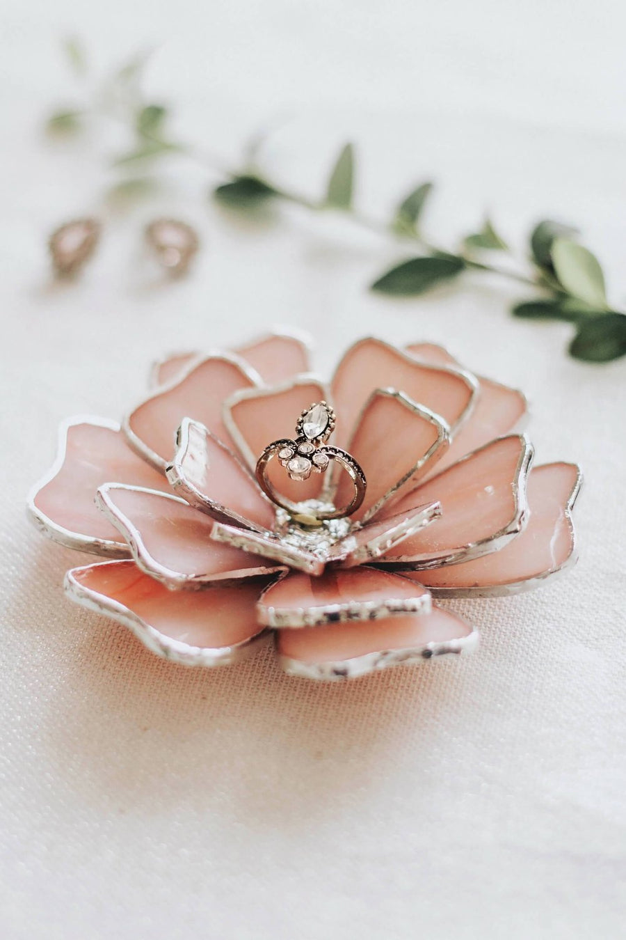 Glass Flower Jewelry Dish