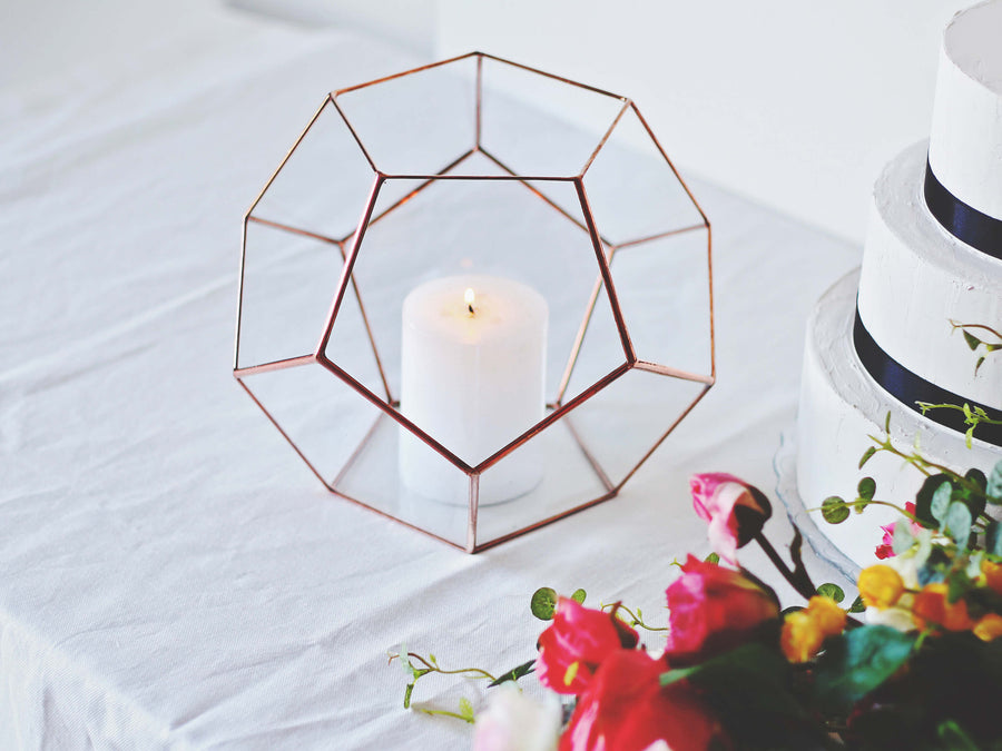 large geometric candle holder