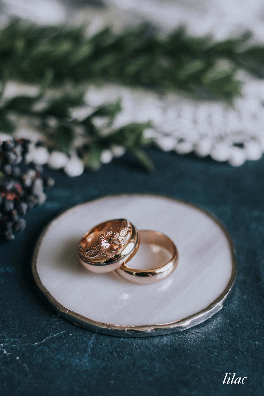 lilac wedding ring dish