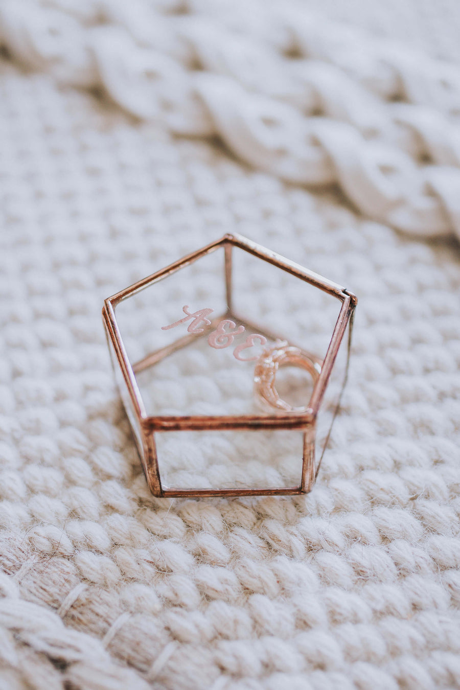Personalized Glass Geometric Wedding Ring Box | Pentagon