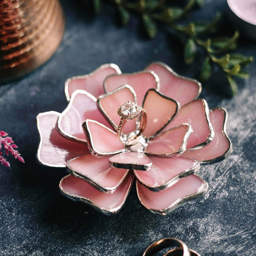 pink flower wedding ring dish