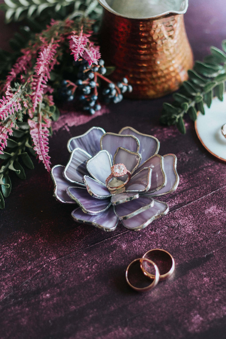 purple flower ring box