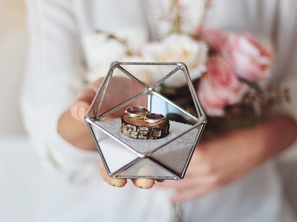silver wedding ring box