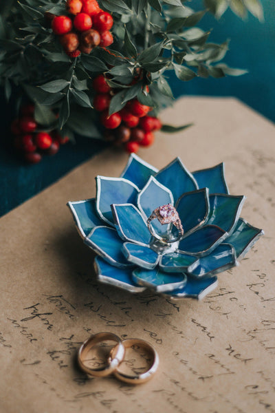 Stained Glass Succulent Ring Dish For Weddings