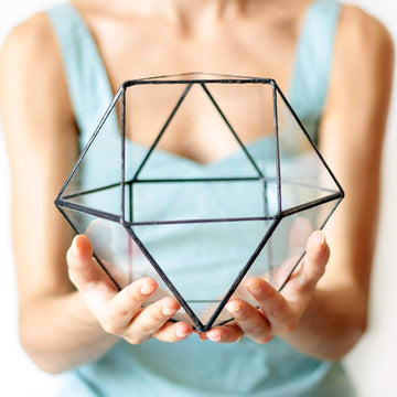 stained glass geometric terrarium