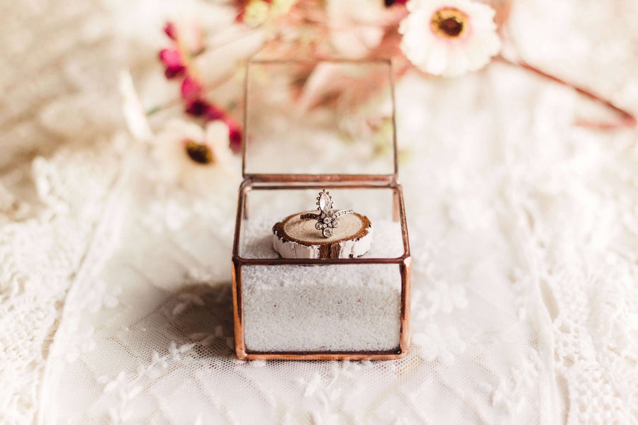 Glass Wedding Ring Box