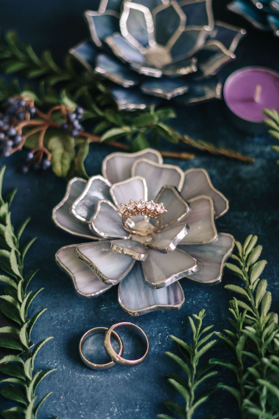 stained glass flower ring dish  engagement  wedding