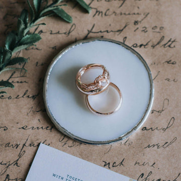 white round wedding ring dish