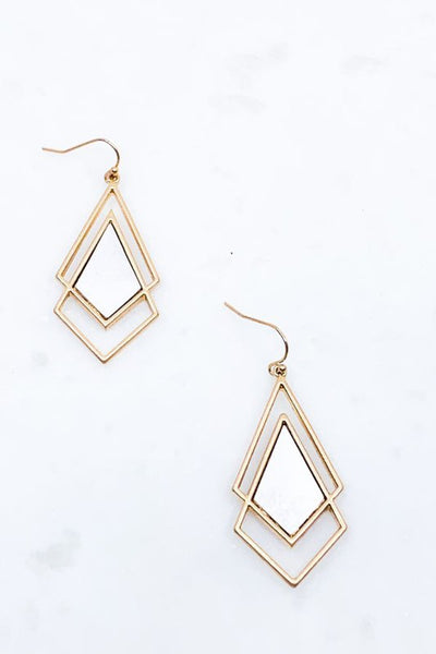 Mixed Metal Double Kite Shaped Earrings