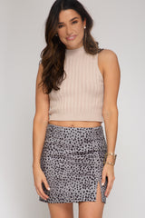 Cheetah Print Faux Suede Skirt With Slit