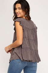Garment Washed Ruffle Sleeve And Tiered Tunic