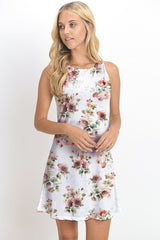 White Floral Fitted Dress