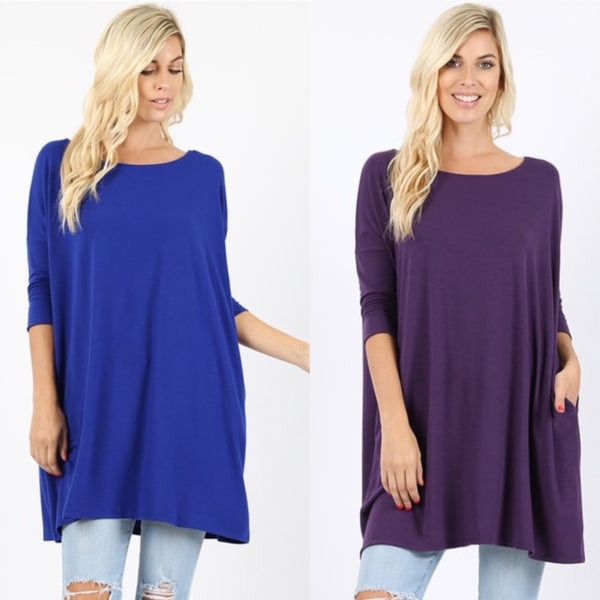 Oversized 3/4 Length Tunic